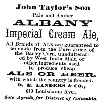 1873 Landers & Co. Albany Ale Ad